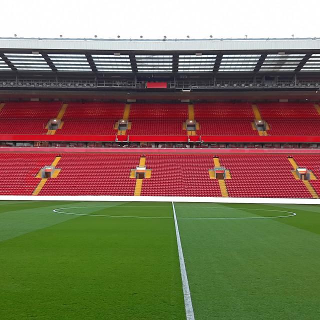 """Football stadium with empty seats"" stock image"