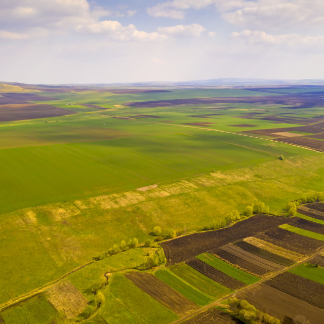 """""""Aerial view of spring fields"""" stock image"""