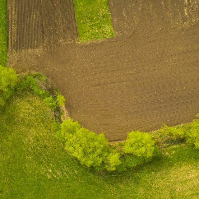 """""""Above view of rural scene during springtime"""" stock image"""
