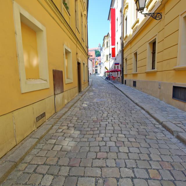 """Pavement street in historic center of Bratislava"" stock image"