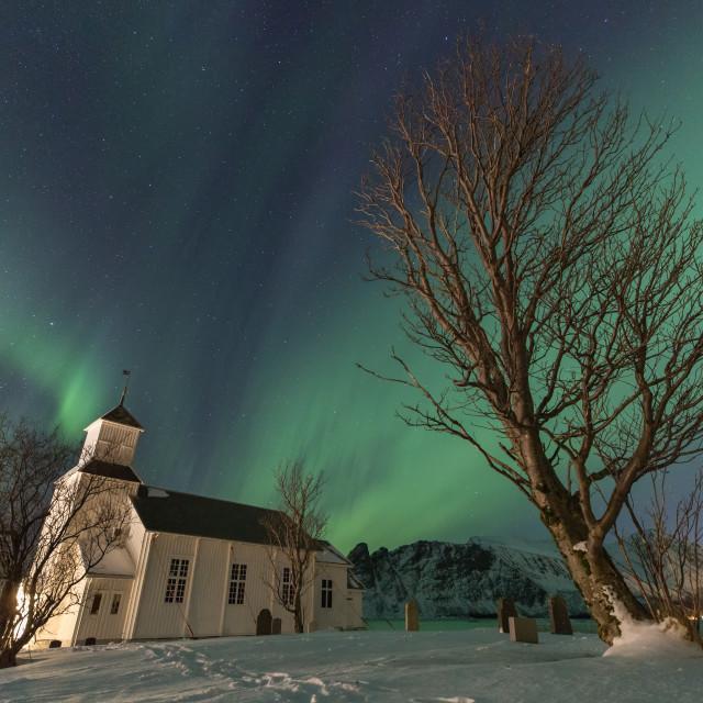 """Northern Lights Over Gimsøya Church Graveyard, Lofoten Islands"" stock image"