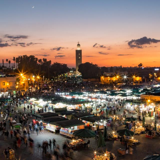 """Djemma-el-Fna Square at Sunset"" stock image"