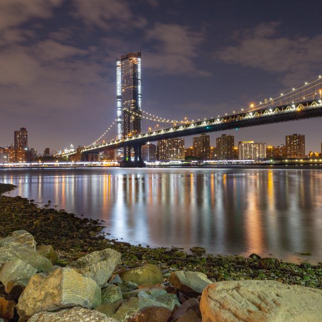 """Manhattan Bridge from Brooklyn"" stock image"