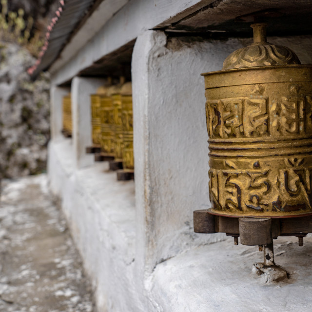 """Buddhist Prayer Wheels"" stock image"