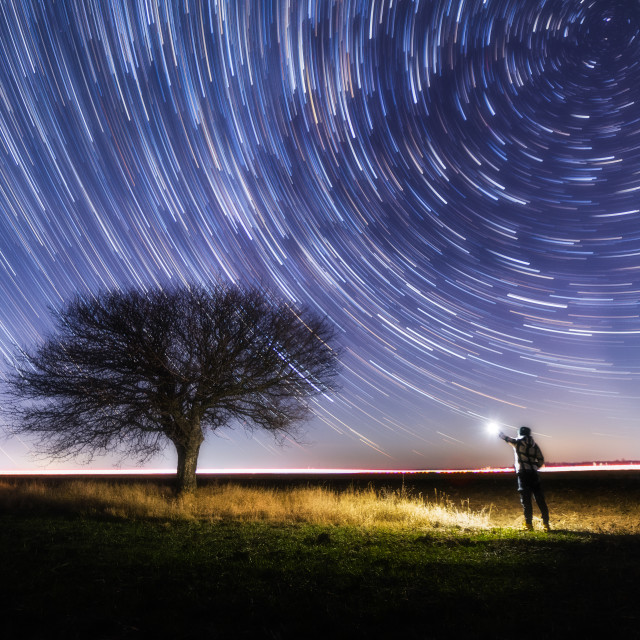 """Startrail at the lonely tree"" stock image"