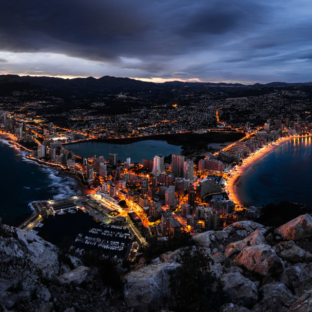 """Calpe during blue hour"" stock image"