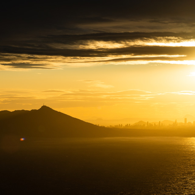 """Sunset from Penon de Ifach"" stock image"
