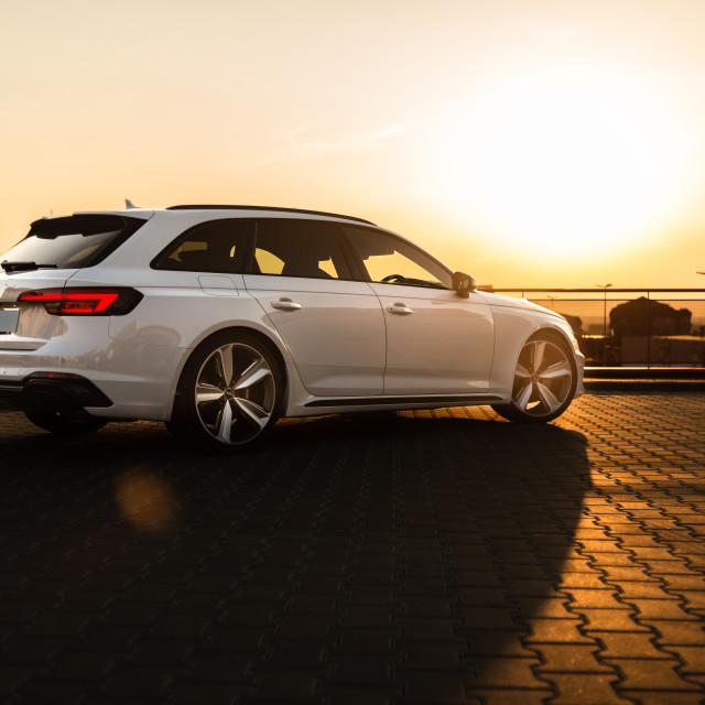 """White Audi RS4"" stock image"