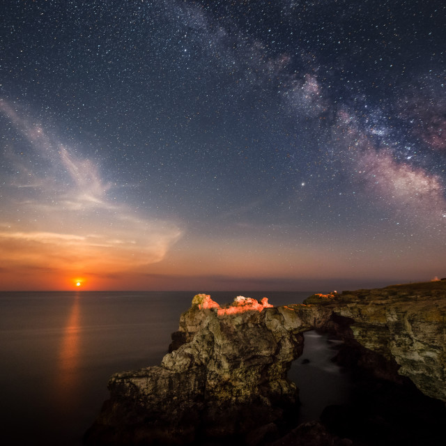 """Moon rise along with the Milky way"" stock image"