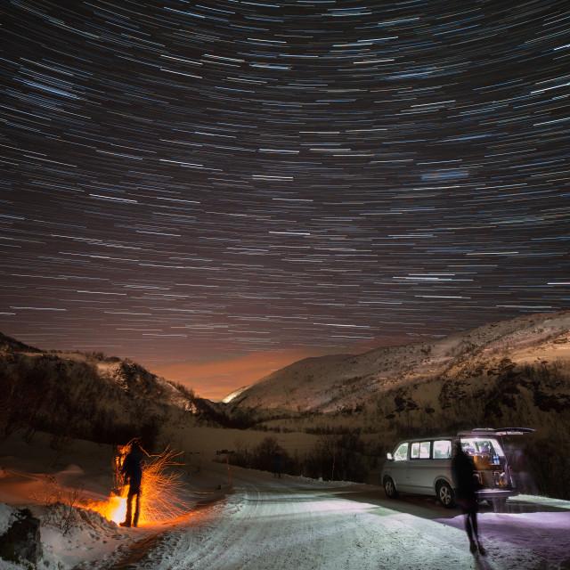 """Roadside Star Trails"" stock image"