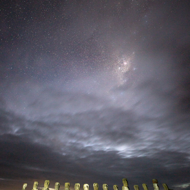 """Milky Way Over Ahu Tongariki"" stock image"