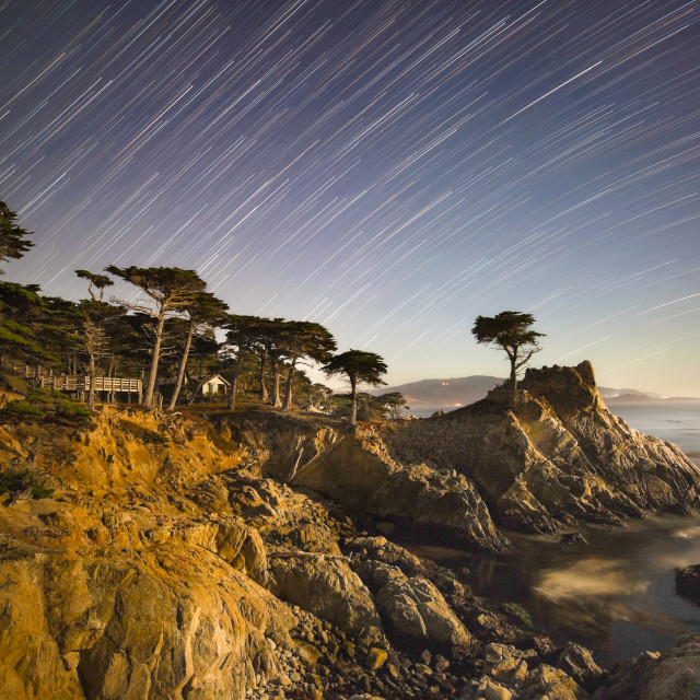 """""""Star Trails Over Pebble Beach"""" stock image"""