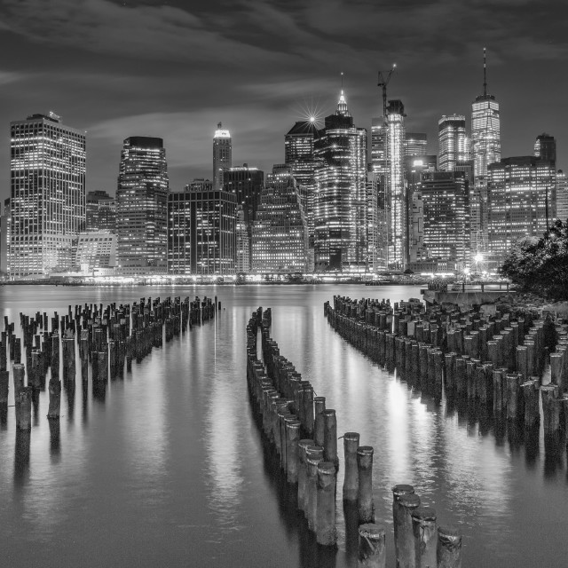 """""""Lower Manhattan from Brooklyn Heights"""" stock image"""