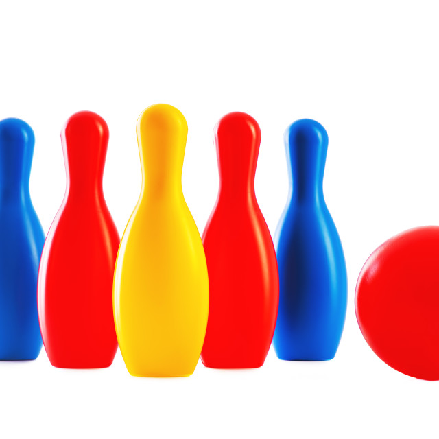 """Bowling game. Skittles and ball toys isolated on white backgroun"" stock image"