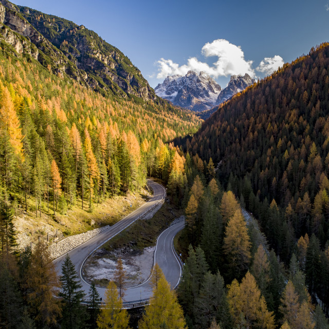 """""""Aerial view of Asphalt roads in the Italian Alps in South Tyrol, during..."""" stock image"""