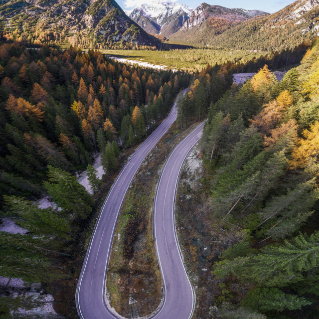 """""""Curved serpentine roads in the Italian Alps in South Tyrol, during autumn..."""" stock image"""