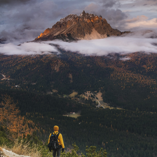 """""""Male traveler dressed in yellow standing on the mountain path in Italian alps..."""" stock image"""