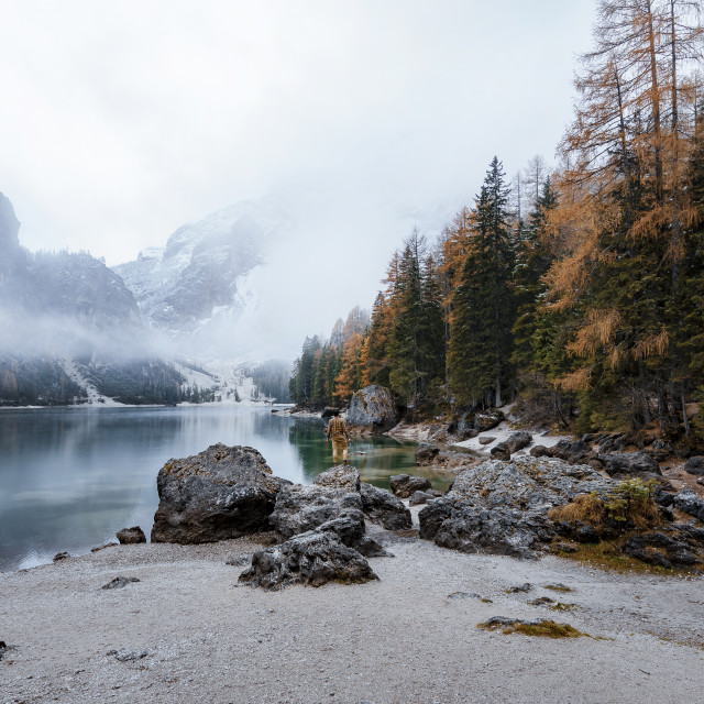 """Evening view of Lago di Braies (Braies lake, Pragser wildsee) during fog, big..."" stock image"