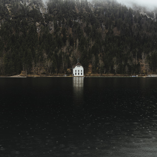"""White boat house, Lake Plansee near Reutte, Austrian Alps. Austria...."" stock image"