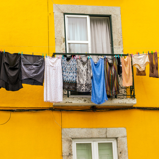 """Clothing hanging out to dry"" stock image"