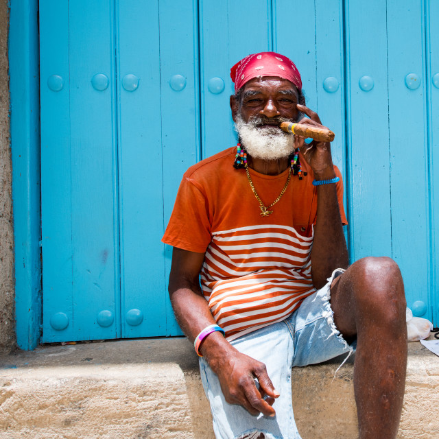 """Cuban man with Cuban Cigar"" stock image"