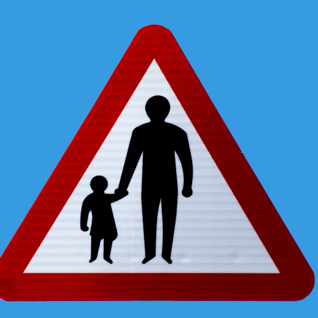 """""""Pedestrians roadside warning sign"""" stock image"""