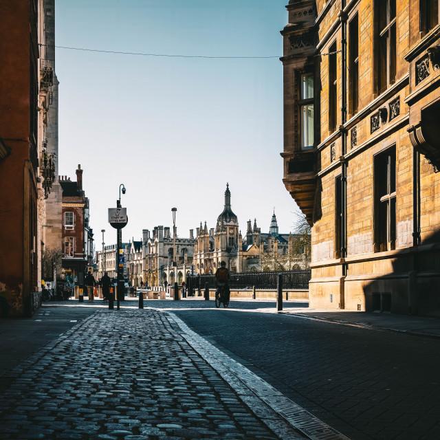 """Trinity Street, Cambridge UK."" stock image"