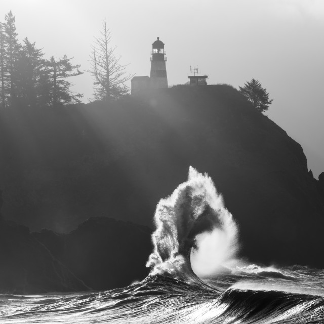 """""""Cape Disappointment waves in Washington"""" stock image"""