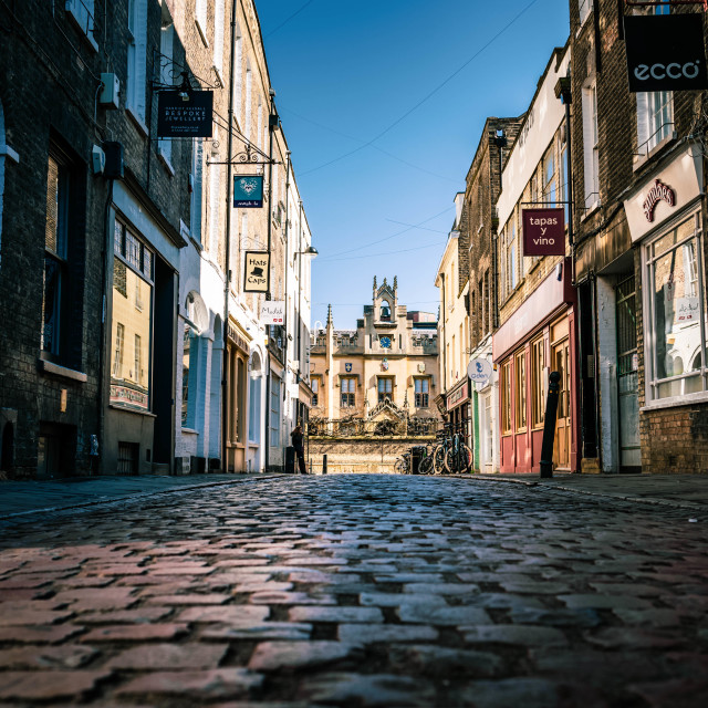 """Sunset, Green Street, Cambridge UK."" stock image"