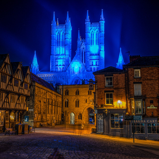 """""""Lincoln Cathedral - NHS blue"""" stock image"""