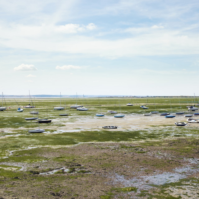 """""""A wide angle shot of low tide at Leigh-On-Sea."""" stock image"""