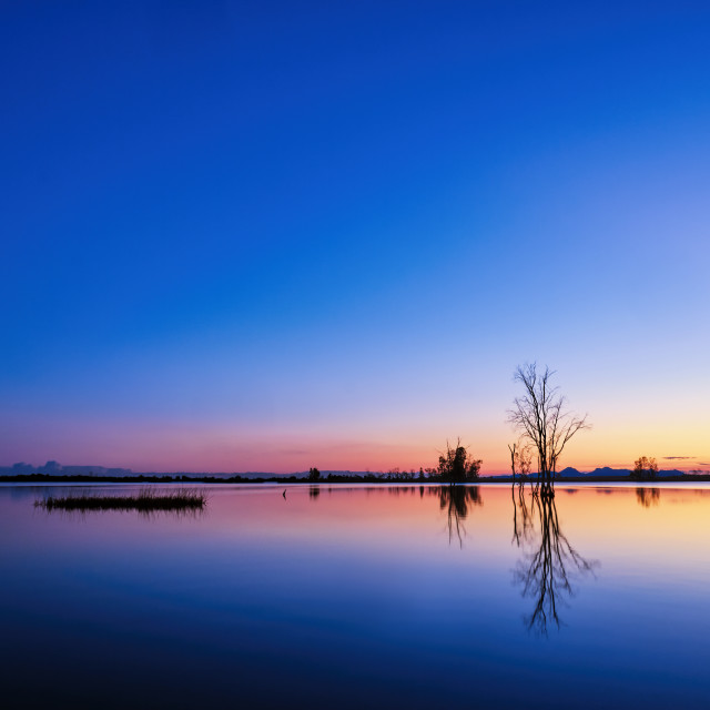 """Tranquil Landacape of a Lake at Sunset"" stock image"