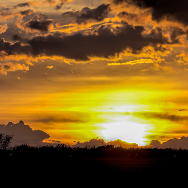 """""""Fire in the Sky 002. Cotswolds evening. Black & Gold."""" stock image"""