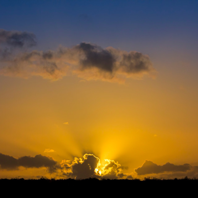 """""""Fire in the Sky 006. Cotswolds evening. Black & Gold & Blue"""" stock image"""