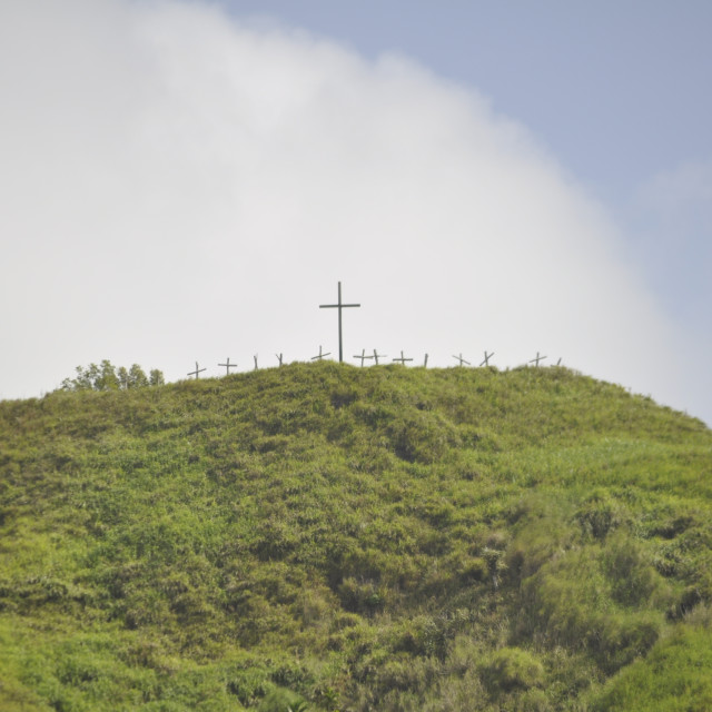 """Cross on a mountain in Guam"" stock image"