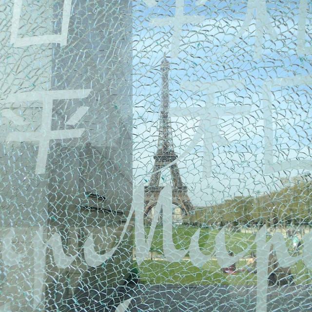 """The Eiffel Tower seen through the Wall for Peace"" stock image"