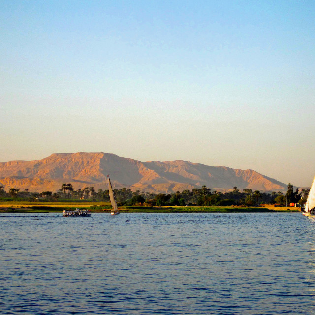"""Sunset on the river Nile"" stock image"