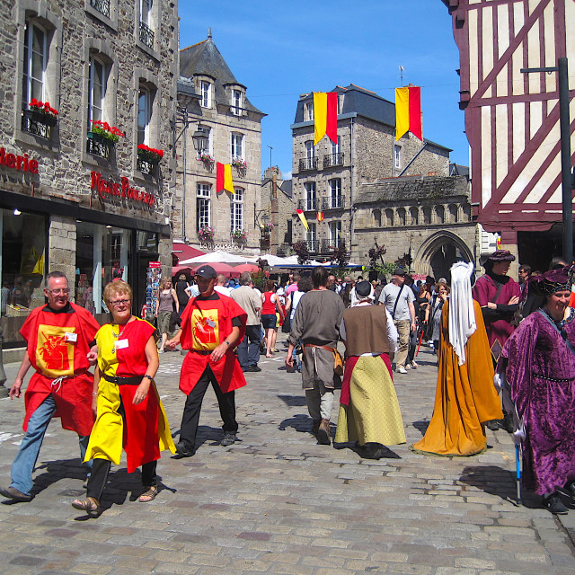 """Dinan medieval festival in Brittany"" stock image"