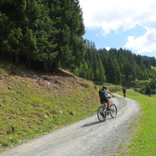 """Cycling in the Alps"" stock image"