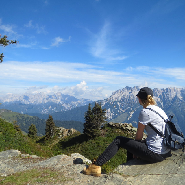 """A hiking break in the Alps"" stock image"