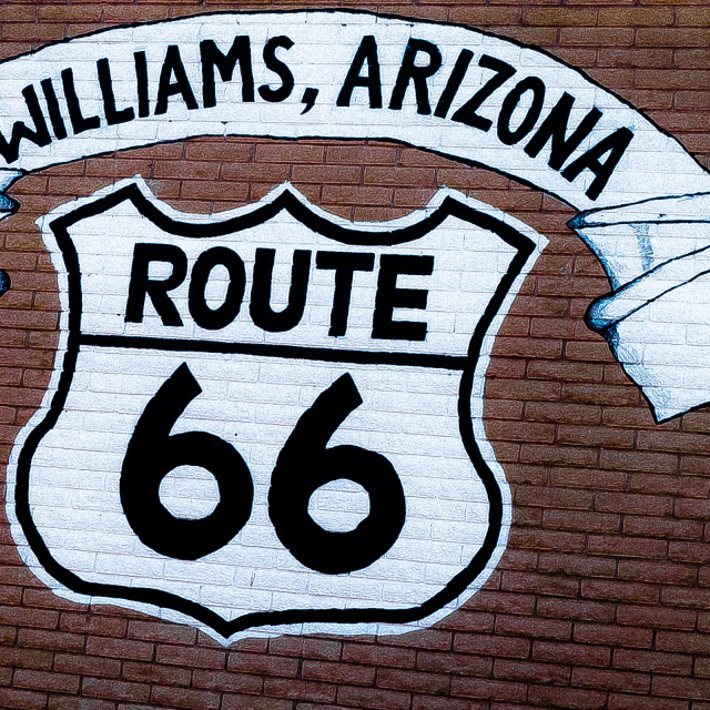 """""""Route 66 sign painted on brick wall"""" stock image"""