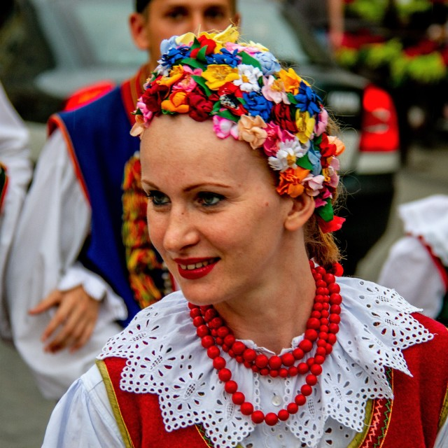 """""""Girl in Traditional Dress at the International Festival of Children and Youth Folk Groups. Krakow"""" stock image"""