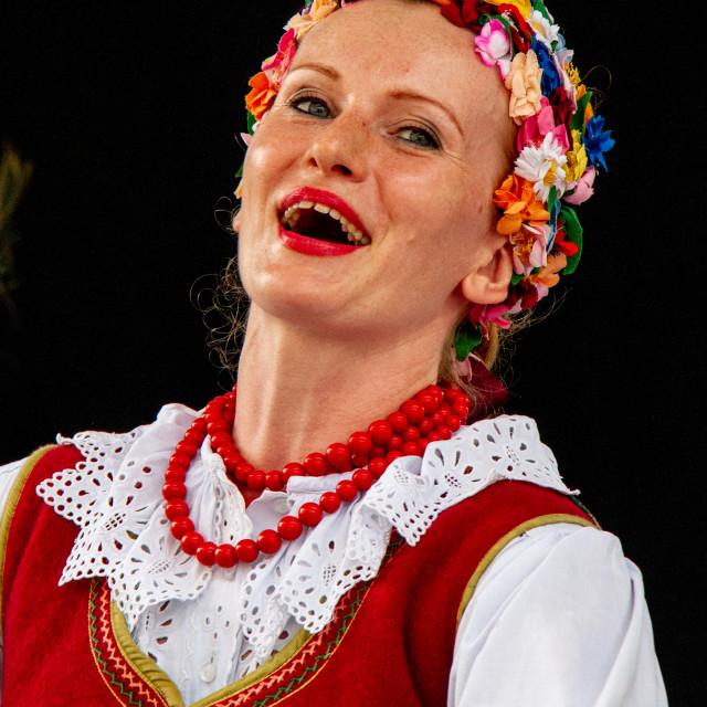 """Girl Singing at the International Festival of Children and Youth Folk Groups. Krakow"" stock image"