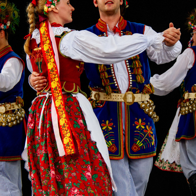 """""""Couple in Traditional Dress Dancing at the International Festival of Children and Youth Folk Groups. Krakow"""" stock image"""