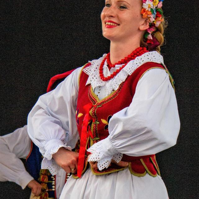 """Girl Singing at the International Festival of Children and Youth Folk Groups. Krakow International Festival of Children and Youth Folk Groups. Krakow"" stock image"