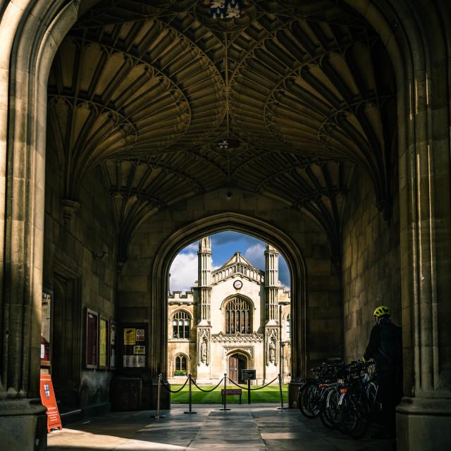 """Entrance to Corpus Christi College, University of Cambridge UK."" stock image"
