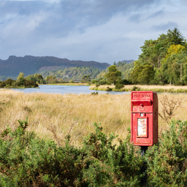 """Isolated Royal Mail Post Box, Scotland"" stock image"