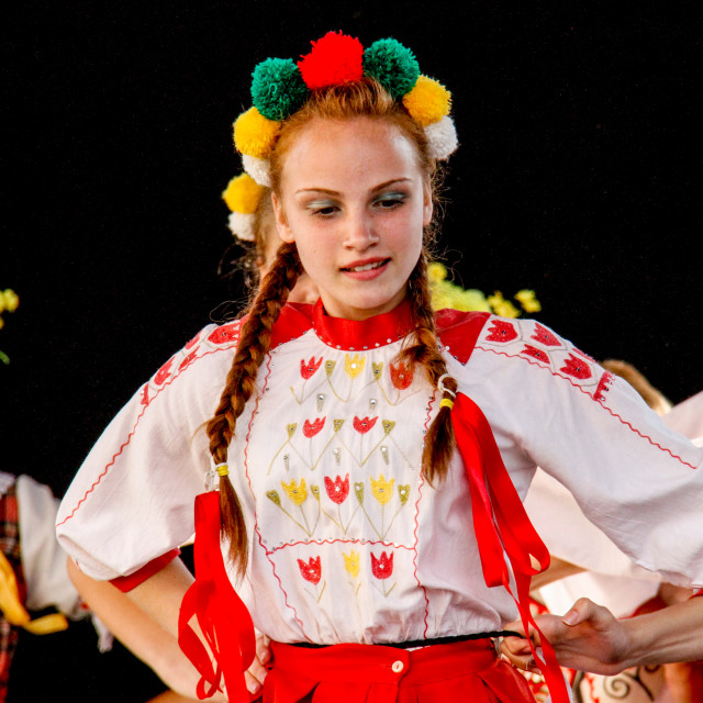 """""""Photographs of participants at the International Festival of Children and Youth Folk Groups. Krakow, Poland.2013"""" stock image"""