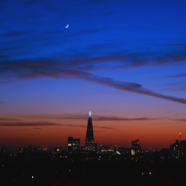 """The Shard & The Moon during the 2020 London Lockdown"" stock image"