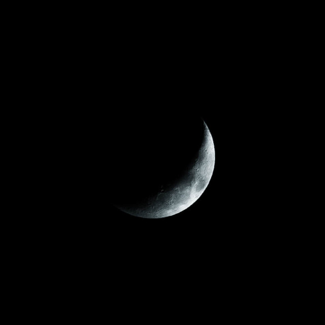 """""""The Moon, Waxing Crescent 23.2% visability."""" stock image"""